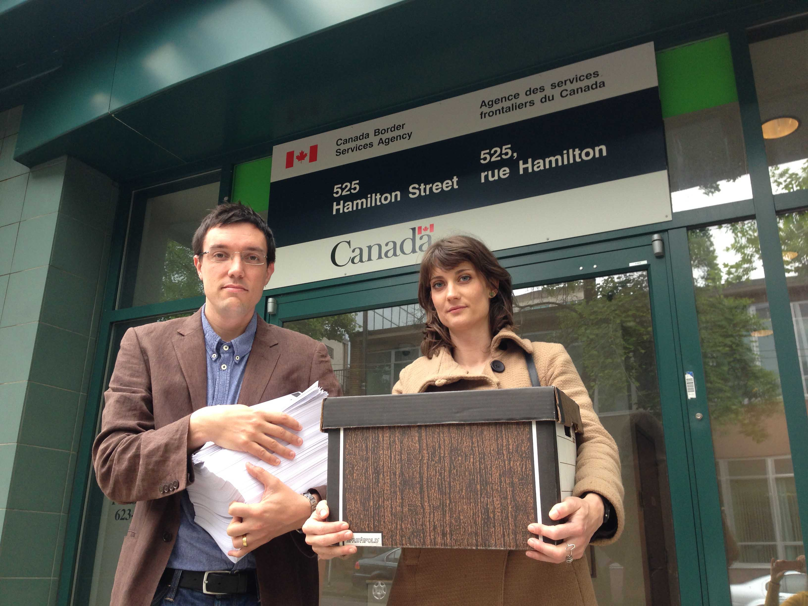 BCCLA Executive Director Josh Paterson delivers the 'Refusal of Consent' forms to the CBSA offices