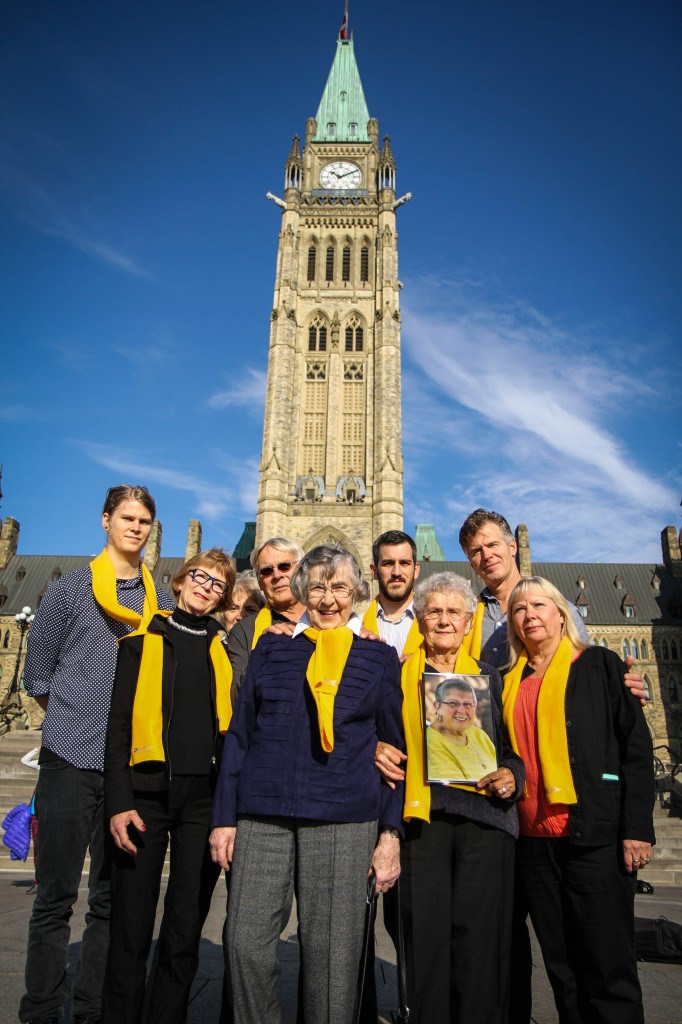 The families of Kay Carter and Gloria Taylor on Parliament Hill, before their press conference.