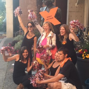 """Photo: Franke James, center, with the """"Radical Cheerleaders"""" at the Divest Victoria rally, where she spoke about divestment from fossil fuels."""